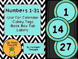 Round Numbers 1-31 (teal pineapples)
