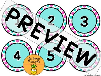 Round Numbers 1-31 (teal/pink polka dots)