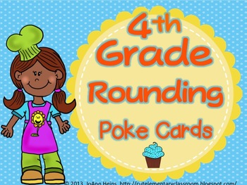 4th Grade Rounding Numbers Poke Card Cupcakes