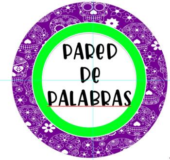 Round Purple Sugar Skull Spanish Word Wall Sign