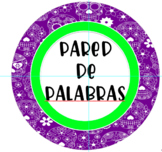 Round Purple Sugar Skull Spanish Word Wall Sign