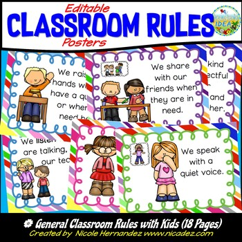 Classroom Rules - Bright Round Rainbow Rules Posters