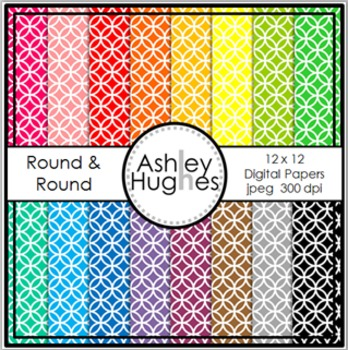 Round & Round 1 {12x12 Digital Papers for Commercial Use}