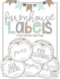 Editable Round Rustic Farmhouse Classroom Labels