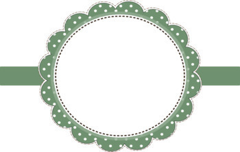Round Scalloped, Stitched Frames w/Polka Dots & Ribbons - 300 dpi