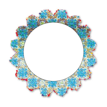 Round Scalloped Glitter Frames (Labels)