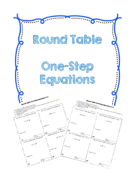 Round Table One-Step Equation (Addition and Subtraction)