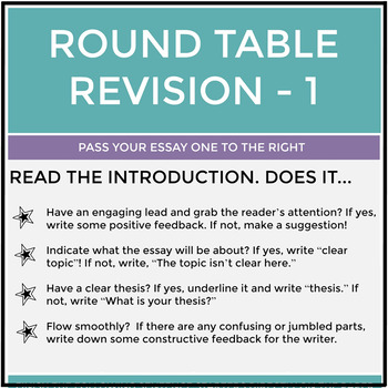 Round Table Revision Activity for Expository, Informative & Explanatory Writing