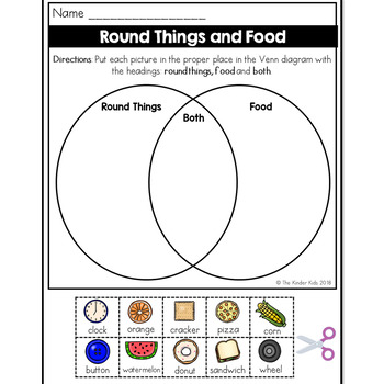 Round Things And Food Venn Diagram Worksheet By The Kinder Kids Tpt
