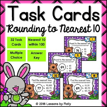 Round Two Digit Numbers to Nearest Ten and Identify Nearest Tens Task Cards