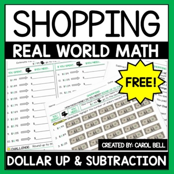 Next Dollar Up and Subtract to Find Change A Shopping Freebie Distance Learning