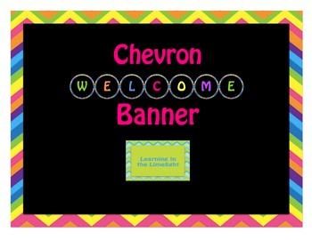 Round Welcome Banner- Black & Bright Chevron