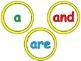 Round Word Wall Words - Yellow or Rainbow Chevron