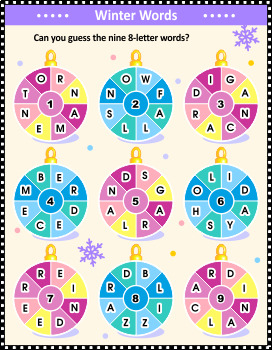 Christmas Words That Start With A.Round Words Christmas Or New Year Word Game Commercial Use Allowed