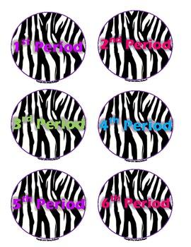 Round Zebra Homework Bin Labels