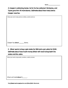 Round and Estimate Worksheets