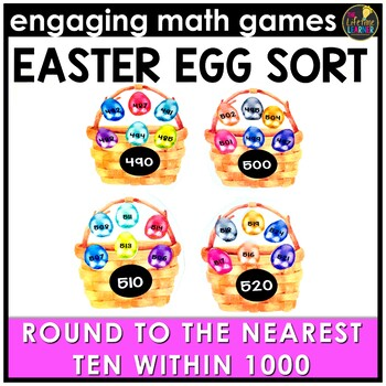 Easter Math Game - Round to Nearest Ten Within 1000
