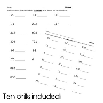 Round to the Nearest 10 and 100 Drill Pack - 3rd Grade Math CCSS