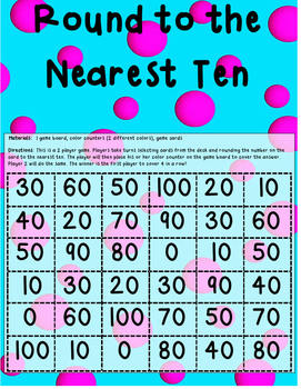 Round to the Nearest Ten Game (one and two digit numbers)-CCSS Aligned