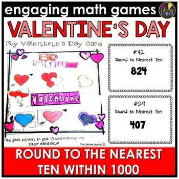 Valentine's Day Round to the Nearest Ten Within 1000 Game