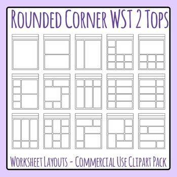 Rounded Corner 2 Header Worksheet Templates Clip Art Set for Commercial Use