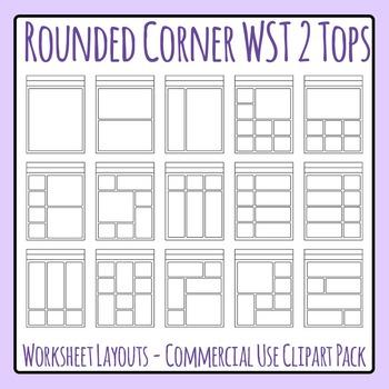 rounded corner 2 header worksheet templates clip art set for