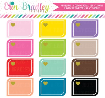 Rounded Corner Boxes Shape Clipart with Hearts