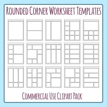Rounded Corner Worksheet Templates Clip Art Set for Commercial Use