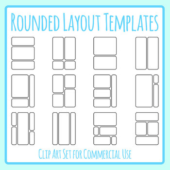 Rounded Layout Templates Clip Art Set for Commercial use