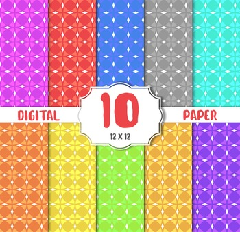 Rounded Squares digital papers, Color Digital Paper Pack