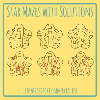 Rounded Star Mazes with Solutions Clip Art Set for Commercial Use