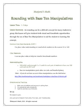 Rounding 0-10 with Base Ten Manipulatives