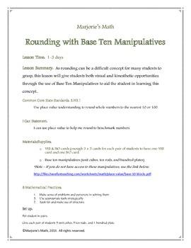 Rounding 0-100 with Base Ten Manipulatives