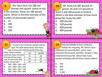 3.4B Rounding/Estimate Addition/Subtraction Problems Comp Task Cards STAAR