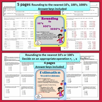 Rounding Bundle 10's 100's 1000's Estimation Common Formative Assessments