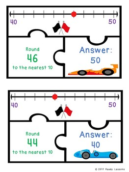 2 Digit Rounding Number Game Puzzles Rounding to the Nearest 10 on a Number Line