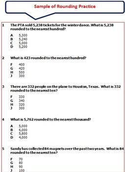 Rounding 2-Pretests/Posttests, 16-Practice Pages, 4 Mini Quizzes
