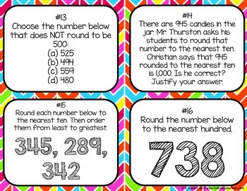 Rounding 2 and 3 Digit Numbers Task Cards