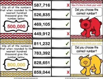 Rounding Numbers Task Cards: Rounding Whole Numbers Within One Million