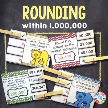 Rounding Numbers Task Cards: Rounding Whole Numbers Within