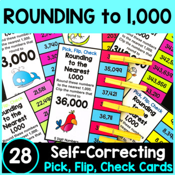 Rounding Numbers: Rounding to the Nearest 1000 Clip Cards