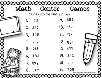 Rounding to the Nearest 10 Math Center Game
