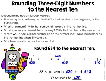 Rounding 3-Digit Numbers to the Nearest Ten on a Number Line