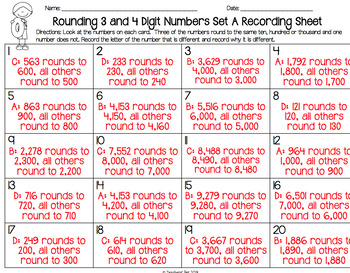 Rounding 3 and 4 Digit Numbers Oddball Cards