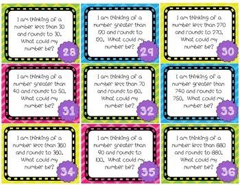 Rounding *3.NBT.1* Task Cards and Bang Game