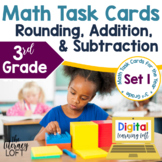 Rounding, Addition, and Subtraction Task Cards (3rd Grade)
