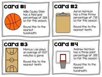Rounding Basketball Stats- Decimal Task Cards