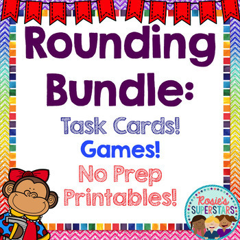 Rounding:Task Cards, Games and Printables Bundle