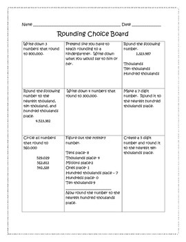 Rounding Choice Board