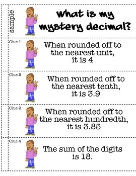 Rounding Decimal Mystery Booklets - Ones, Tenths, Hundredths - 9 Different!